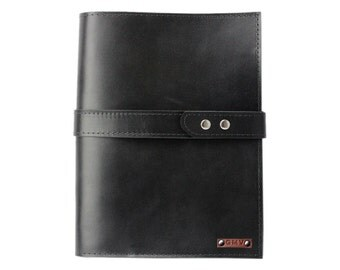 Executive Padfolio in Black Latigo Leather Made in the U.S.A. - EX-BLK-EXPDF