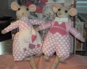 OOAK Valentine' Day Mice in Pink outfits