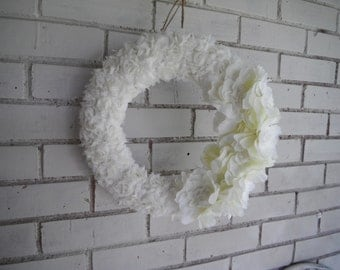 cream floral wreath shabby decor cottage chic wedding wreath fabric wreath holiday decor christmas wreath indoor wreath she shed 13 inch