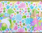 Sweet Springtime Zero Waste Children's Roll Up Placemat Set