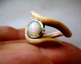 Opal and  wood ring
