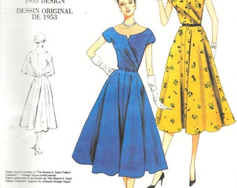 Vogue V1043 Retro 1953 Dress Elegant Flared and Belted Sewing Pattern Vintage 1950s Size 14, 16, 18 and 20