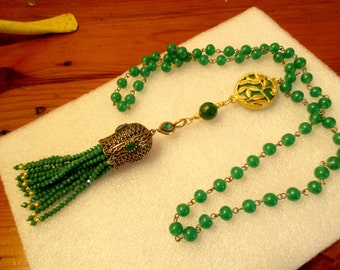 Grand Green JADE Rosary Chain w/Jade Pendant w/Etched 22K Gold FRETWORK, Ornate TASSEL Cap w/Crystal Accents & 12 Jade Crystal Tassels