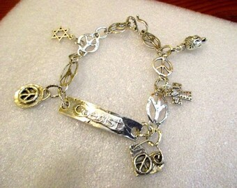 """STERLING Silver """"COEXIST"""" Multi Denominational Focal Link, Sterling PEACE Sign Links & Cross, Star of David, Buddha Charms Bracelet"""
