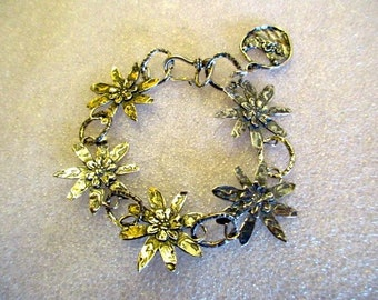 The Flower Girl: OOAK, All STERLING Silver Embossed & Etched, Rustic 5-FLOWER Links Artisan Bracelet w/Sterling Flower Basket Charm