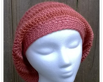 Shades of Peach Puffy Slouchy Striped Hat