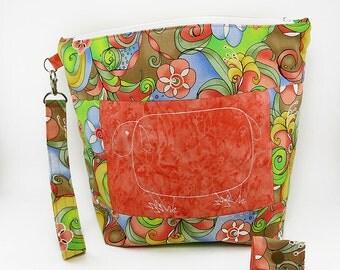 "Large Zipper Knitting Project Bag ""Baa Baa Coral Sheep"" (Wedge Style):  with detachable handle! (10"" x 12"" x 5"" base)"