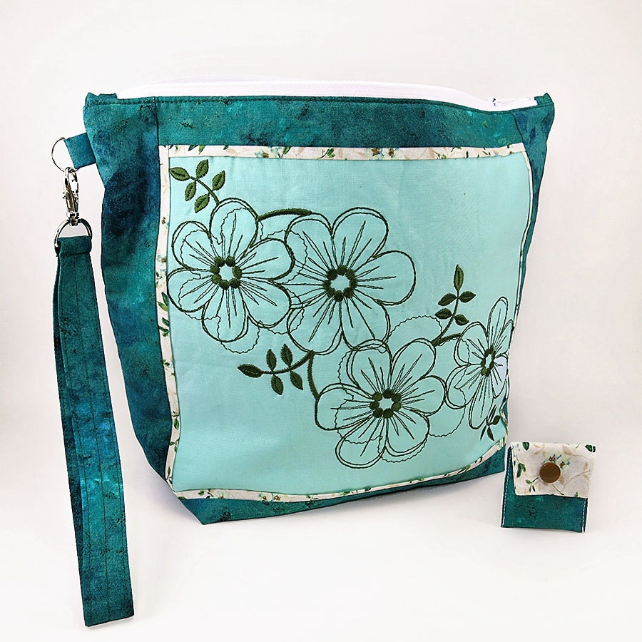 Zippered Knitting Bag : Large zipper knitting project bag floral fantasy