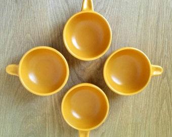 1960s Ray Cook Orange Studio Pottery Ramekins. Retro Australian Pottery