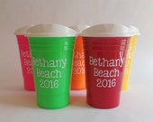 Reusable Solo Cup, Personalized Solo Cups with Lid, Monogrammed Solo Cup, Custom Cups, Beach Cup, Party Cup, Bachelorette Weekend Cups
