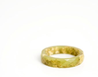 size 8 thin multifaceted eco resin ring | olive green eco resin with gold leaf flakes