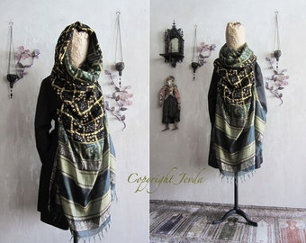 oversized scarf, hooded scarf, fringed scarf, extra large scarf, plus size clothing, unique scarf, boho scarf, gift for her, fall scarf