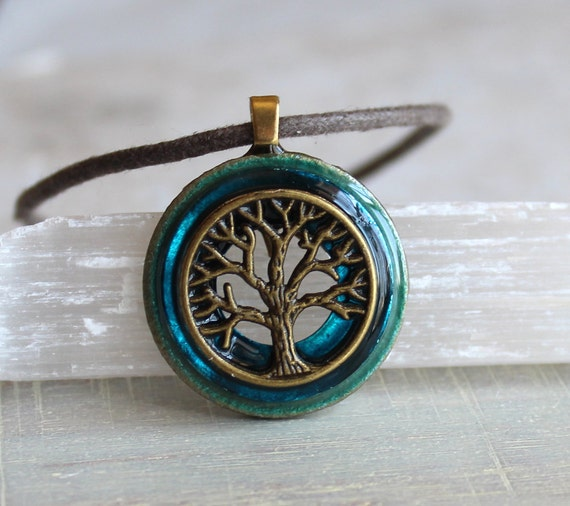blue tree of life necklace, mens jewelry, celtic jewelry, mens necklace, unique gift, nature necklace, oak tree, wiccan necklace, mens gift