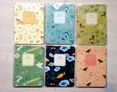 Cute little animal notebook. Kawaii zakka korean small lined journal moleskine notepad. Blue, green, pink, yellow color