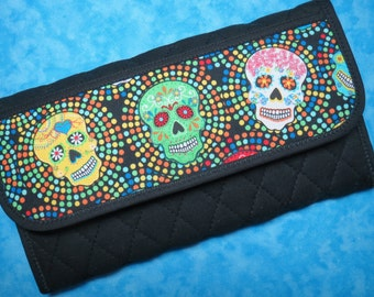 Women Wallet - Vegan Wallet Sugar Skull Day of the Dead Fabric Wallet Large Wallet Trifold Wallet Cloth Wallet Checkbook Wallet Velcro