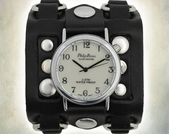 Ladies Leather Cuff Biker Watch - 3 Strap Cuff Watch