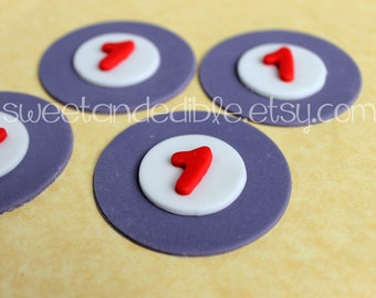 Set of 12 NUMBERS or LETTERS. CUSTOMIZED Edible Fondant Cupcake Toppers.