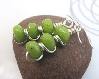 Peridot earrings - silver earrings - green earrings - earthy earrings - August birthstone - sterling silver ear wires