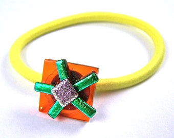 """Dichroic Ponytail Holder Rubberband - Hippy Flower Daisy Sunflower Yellow Gold Orange Green Lime Pink Fused Glass - 3/4"""" 2cm Hair Accessory"""