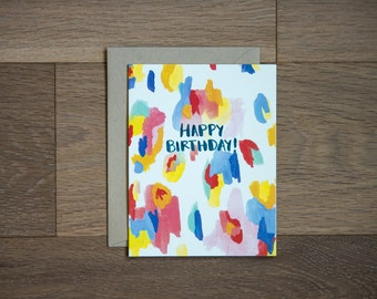 Birthday card, illustrated card, abstract painting