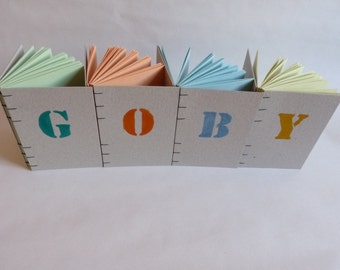 GOBY notebook, coloured pages, recycled, ink, stencil, letter, A6