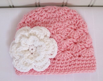 Crochet Girls Hat - Baby Hat - Newborn Hat - Toddler Hat - Winter Hat - Pink with White Flower - in sizes Newborn to 3 Years