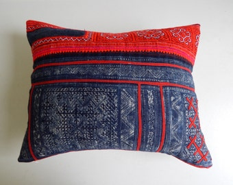 Navy and Red Batik Pillow Cover - Hmong Cross Stitched Pillow - Bohemian Tribal Throw Pillows