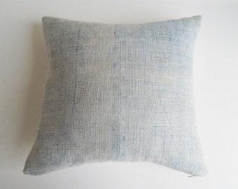 Faded Indigo Batik Tribal Throw Pillow - Boho Hmong Pillow Cover - Batik Cushion Cover