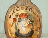 Vintage Large Wooden Spoon, Hand Painted, Signed, Mi Casa Su Casa, Mexico