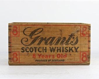 Grant's Scotch Whiskey Wood Crate,  Scotch Whiskey Wood Crate, Vintage Whiskey Wood Crate, Whiskey Wood Crate, Scotch Wood Crate, Industrial