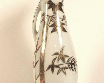 "Japanese  Porcelain Pitcher Golden Bamboo Design Gold Trim 7"""
