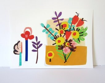 Floral Collage 1 - 8 x 11 inch giclee print - graphic floral illustration - Abstract - bright bouquet