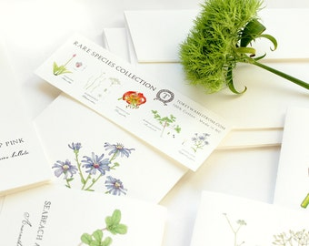 Note Card Stationary Set - Rare Wildflower Botanical Illustrations