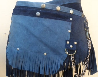 "20%OFF BURNING Man fringed suede belt with stud detail.chain,2 pockets ...38"" to 46"