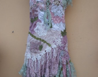 "20%OFF vintage inspired shabby bohemian gypsy dress ..medium to 42"" bust..."