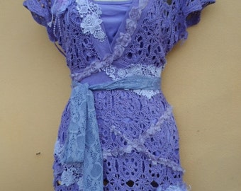 """20% OFF purple crochet top with lace ruffles..small to 36"""" bust"""