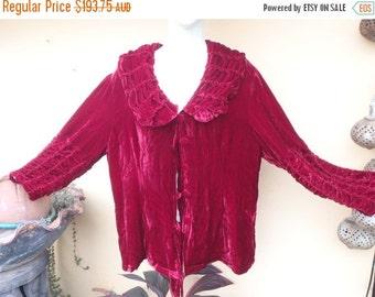 "20%OFF bohemian vintage boho lush silk velvet ruched detailed jacket....medium to 44"" bust.."