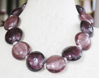 Necklace - Shorter Length - Shades of Purple with Silvertones - Round Puffed Beads  - Unique Silvertone  Beads -