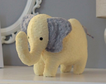 Stuffed Elephant Toy - Yellow and Gray Minky Plush Elephant - Elephant Toy - Nursery Decor - Baby Christmas Gift - Kids Christmas Gift