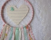 RESERVED for Ashley- Large Dream Catcher, Pretty Peach Pink Love Catcher, Lace Dreamcatcher, Nursery Decor, Baby Girl Gift