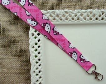 Fabric Lanyard - Miss Kitty on Hot Pink