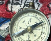 Vintage Brass Germany Glass Cover Glow in the Dark Military Pocket Compass