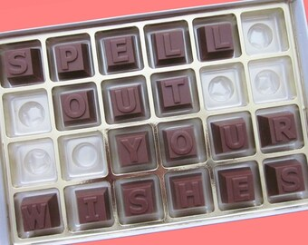Personalized Womens Teens Gift Mens Gift Graduation Gift Birthday Gift Him Her BFF  Funny Romantic 24 pc Milk Chocolate Message Letters