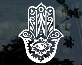 Hamsa Hand Boho Vinyl Sticker yeti glass window car yoga zen No.2