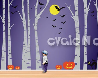 Halloween Spooktacular Forest Wall Decor-Spooky Birch Trees with Holiday Twist, Jack-O-Lantern, Bats, Flying Witch, Black Cat - TRFR030