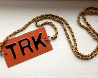 Metal plate Truck Necklace TRK License plate style necklace