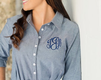 FREE shipping and FREE personalization - Monogrammed Personalized Women's Chambray Shirt Dress with Belt