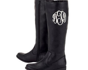 SALE - FREE monogramming - Black Brooklyn Boots - sizes 6-11