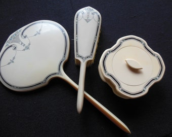 Antique Celluloid Pyralin (French Ivory) Dresser, Vanity Set, Mirror, Brush & Box, Art Noveau Style