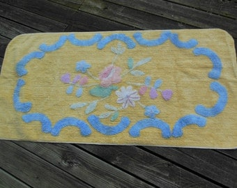 Large 5 Foot Chenille Rug, Yellow With Blue and Pastel Flowers, All cotton